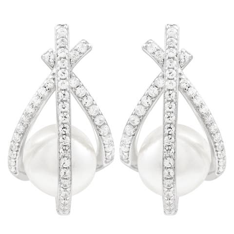 Luxiro Sterling Silver Shell Pearls with Cubic Zirconia Women's Post Earrings
