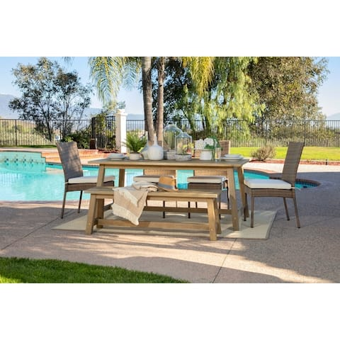 Oarcha 6-piece Eucalyptus Wood Rectangular Outdoor Dining Set by Havenside Home