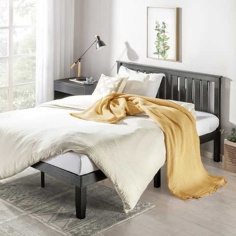 14 inch Wood Platform Bed w/Panel Headboard/Velvet Lined Slat Support/ No Box Spring Needed - Crown Comfort