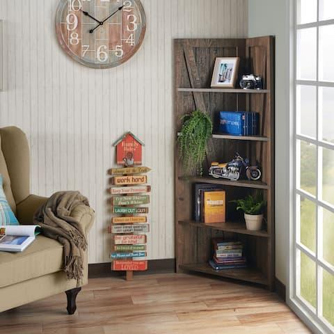 Carbon Loft Scanlan Rustic Reclaimed Oak 5-shelf Corner Bookcase