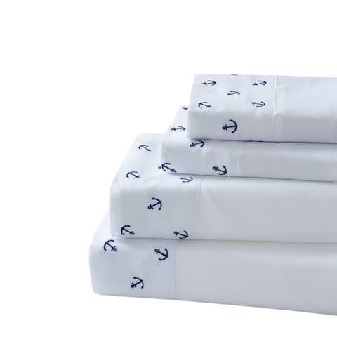 Porch & Den Millford Coastal Embroidered 4-piece Bed Sheet Set