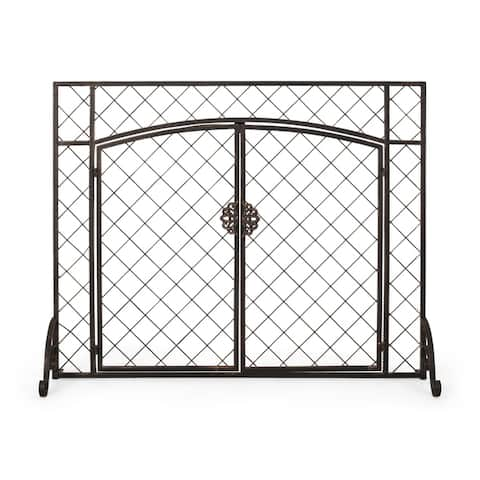 Springer Contemporary Iron Fireplace Screen by Christopher Knight Home