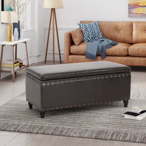 Tatiana Contemporary Bonded Leather Storage Ottoman by Christopher Knight Home