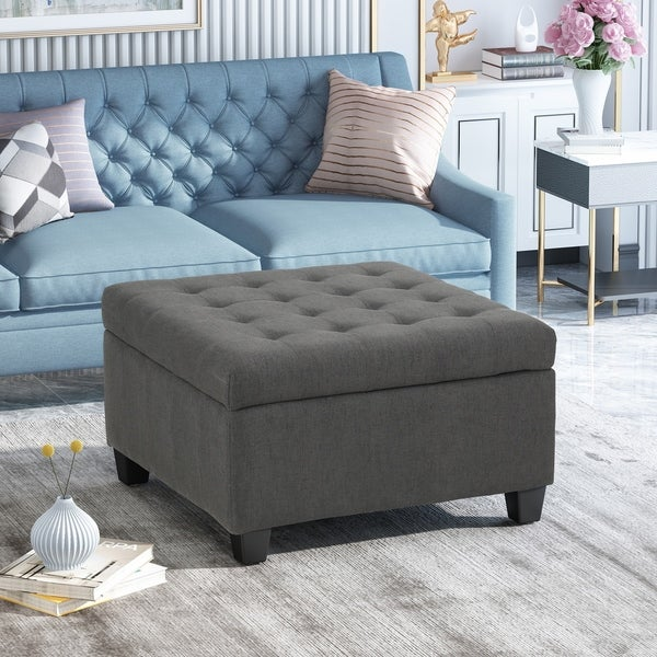 shop isabella contemporary tufted fabric storage ottoman