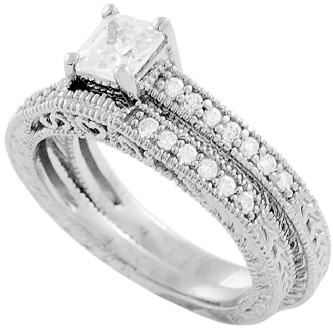 Journee Collection Sterling Silver Princess-cut CZ Bridal and Engagement Ring Set