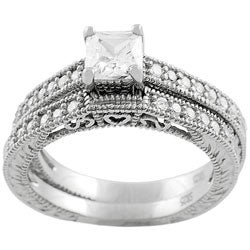 Journee Collection Sterling Silver Princess-cut CZ Bridal and Engagement Ring Set - Thumbnail 1