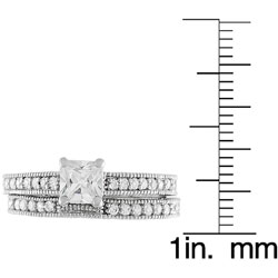 Journee Collection Sterling Silver Princess-cut CZ Bridal and Engagement Ring Set - Thumbnail 2