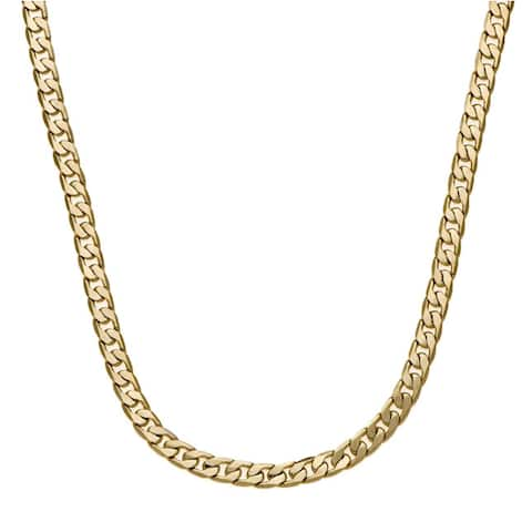 7mm 20-Inch Cuban Link Gold/Silver Overlay Chain by Simon Frank Designs