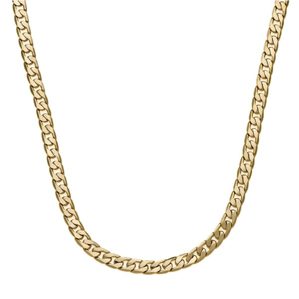 Simon Frank 14k Yellow Gold or Silver Overlay 7mm Cuban Necklace (20-inch)