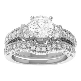 Sterling Silver Cubic Zirconia 2-piece Wedding Ring Set
