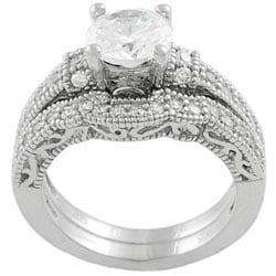 Sterling Silver Cubic Zirconia 2-piece Wedding Ring Set