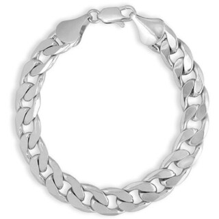 Simon Frank Designs 14K Gold Overlay 12mm 9-inch Cuban Bracelet (Option: Silver Overlay - White - Link - Men's - 9 Inch - Fashion)