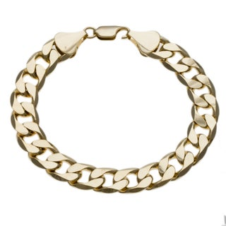 Simon Frank Designs 14K Gold Overlay 12mm 9-inch Cuban Bracelet