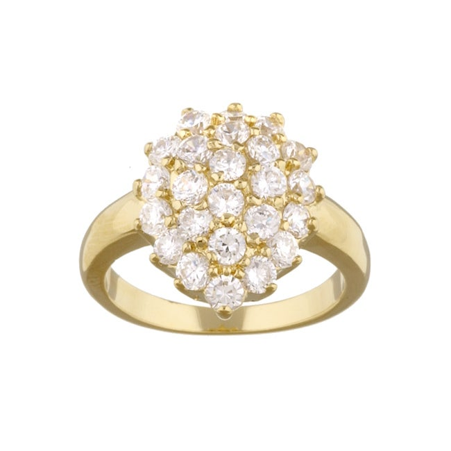 Simon Frank 14k Gold Overlay Diamoness Cluster Cocktail Engagement Ring