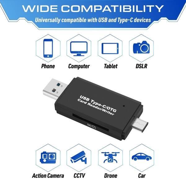 Black Universal Type C to USB 3.0 OTG Hub Adapter SD//TF Micro SD Memory Card Reader