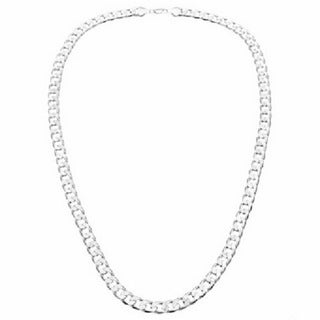 Simon Frank 14k White Gold Overlay 20-inch Cuban Necklace 7mm