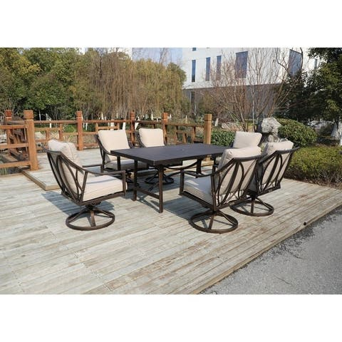 La Jolla 7-piece Outdoor Aluminum Dining Set with 6 Swivel Chairs