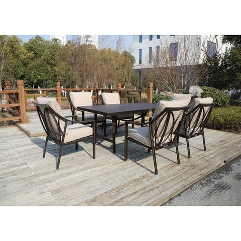 La Jolla 7 Piece Outdoor Aluminum Dining Set with 6 Arm Chairs