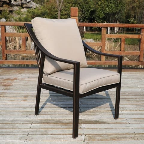 La Jolla Outdoor Aluminum Dining Chair with Cushion, Set of 2