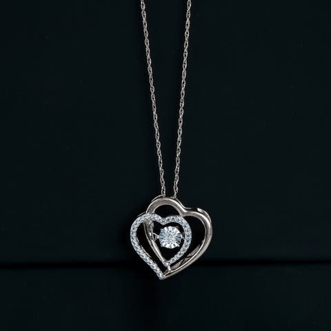 1/20ct TDW Diamond Double Heart Necklace in Silver by De Couer