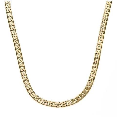 7mm 30-Inch Cuban Link Chain Gold/Silver Overlay by Simon Frank Designs