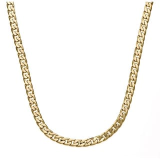 Simon Frank 14k Yellow Gold or Silver Overlay 30-inch Cuban Necklace (7mm)