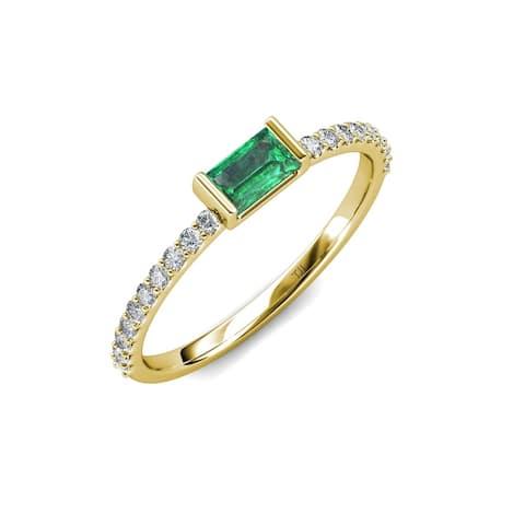 Trijewels Emerald Diamond 1/2 ctw Women Promise Ring 14K Yellow Gold