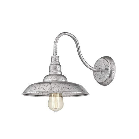 Rustic Barn Light, Farmhouse Wall Light, Dome Shade Light in Galvanized Silver Finish
