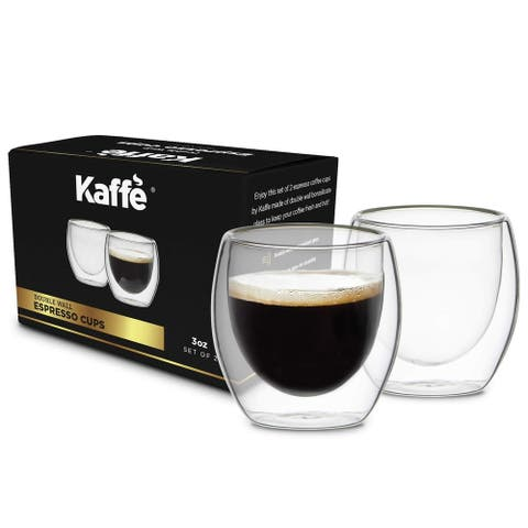 KF4040 Espresso Mugs Set of 2 3oz Cups Double-Wall Borosilicate Glass