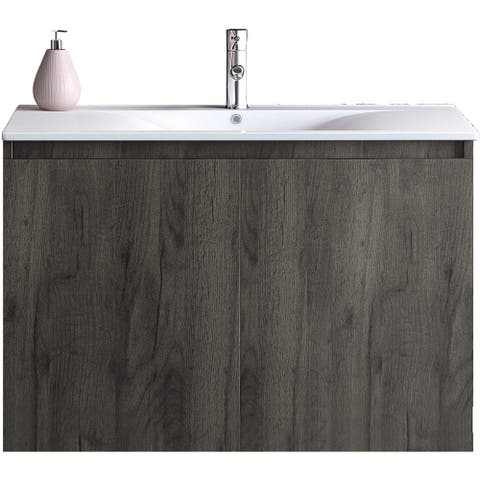 30 Inch Floating Walnut Brown Vanity Set with Integrated White Porcelain Sink