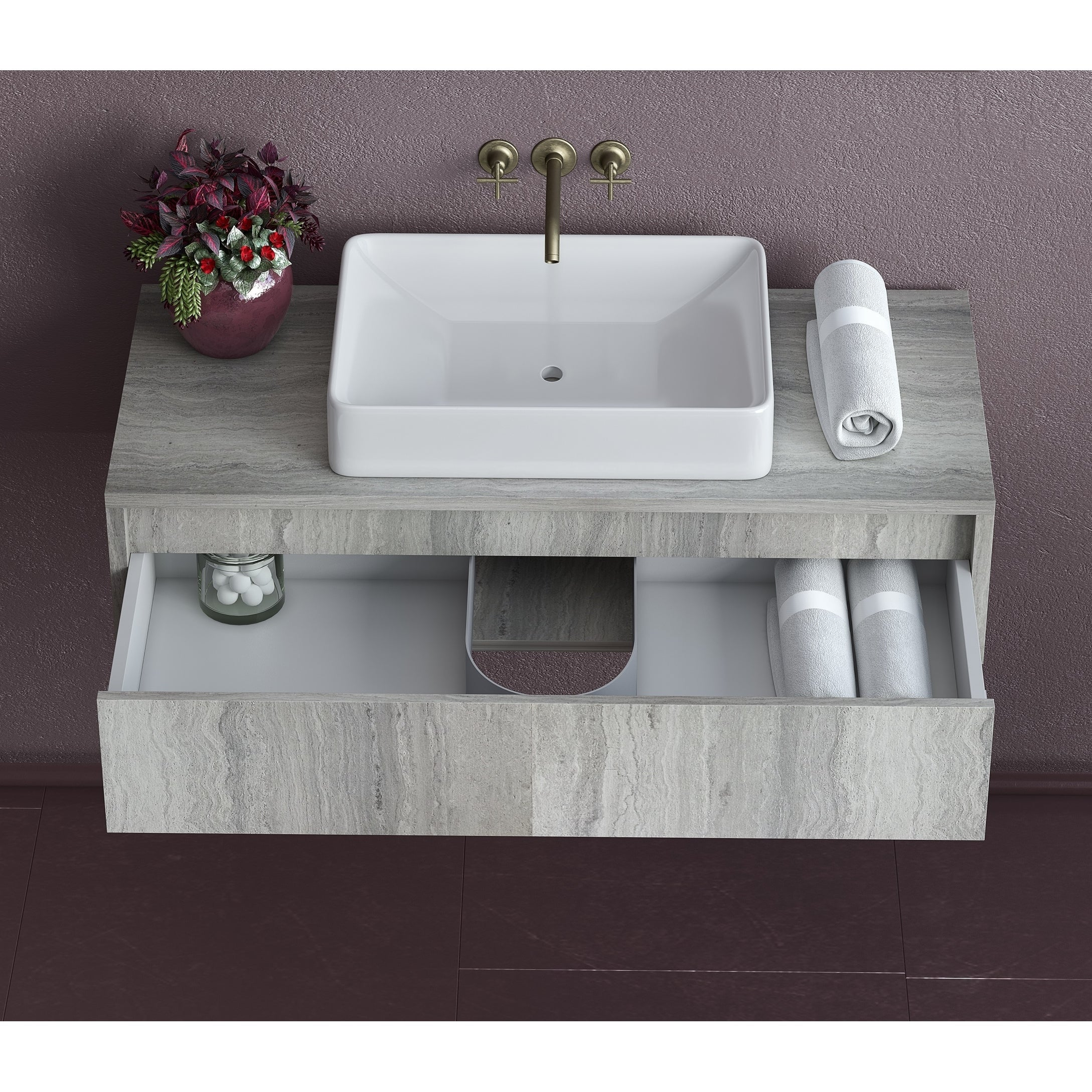 36 Inch Floating Oak Bathroom Vanity Sink Set Grey Oak With White Vessel Sink Overstock 30740266