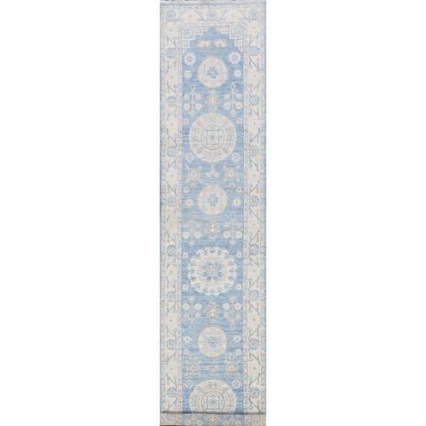 "Geometric Khotan Oriental Blue Long Hallway Runner Rug Hand-Knotted - 2'7"" x 13'0"""