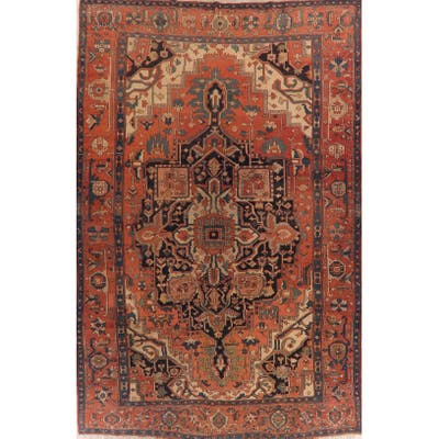 "Pre-1900 Antique Large Heriz Serapi Persian Area Rug Handmade Carpet - 9'9"" x 15'1"""