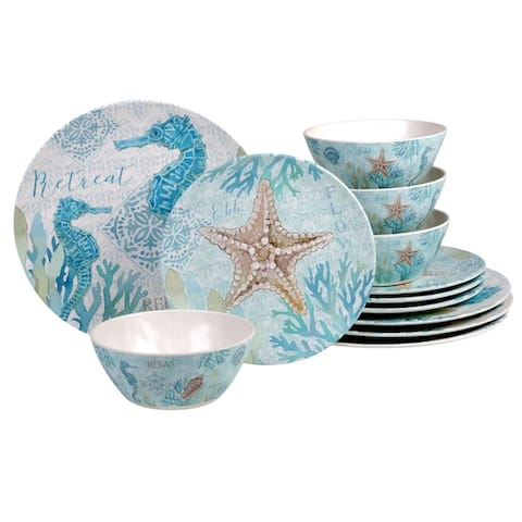 Certified International Beachcomber 12-piece Melamine Dinnerware Set (Service for 4)