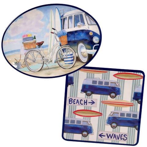Certified International Beach Time 2-piece Melamine Platter Set