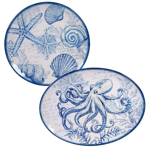 Certified International Oceanic 2-piece Melamine Platter Set