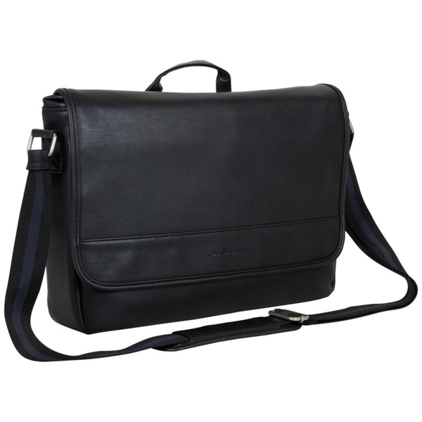"Ben Sherman Slouchy Faux Leather Single Compartment Flapover 15"" Laptop Messenger Bag. Opens flyout."