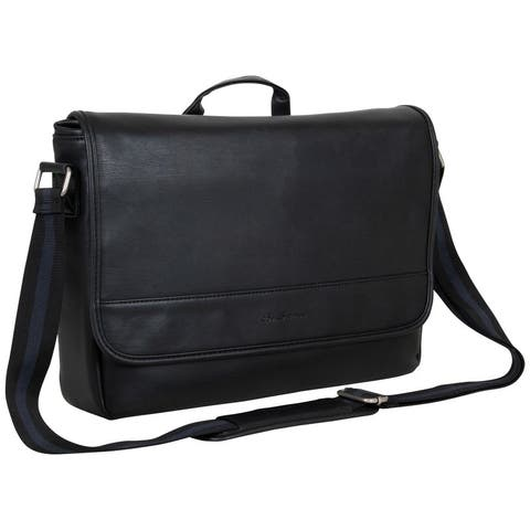 "Ben Sherman Slouchy Faux Leather Single Compartment Flapover 15"" Laptop Messenger Bag"