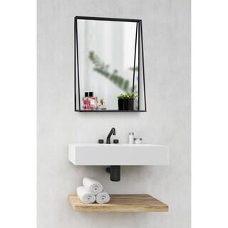 Kate and Laurel Lintz Metal Framed Mirror with Shelf - Black - 18x24