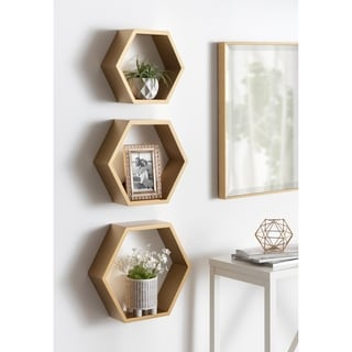 Link to Kate and Laurel Putnam Hexagon Wood Shelf Set - 3 Piece Similar Items in Accent Pieces