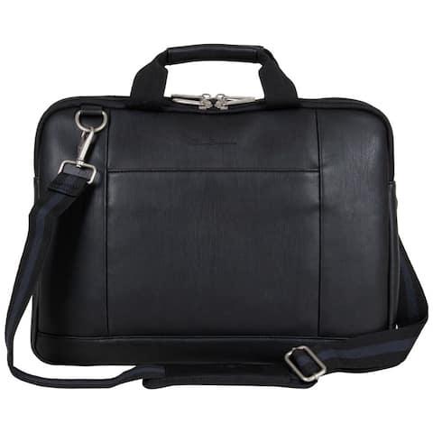 """Ben Sherman Faux Leather Slim Double Compartment Top Zip 15.6"""" Laptop Business Case"""