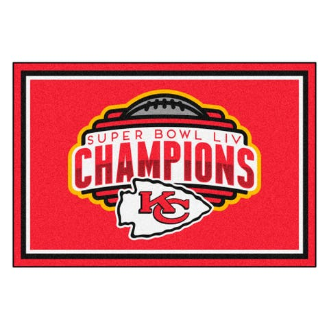 Kansas City Chiefs Super Bowl LIV Champions 5 ft. x 8 ft. Plush Area Rug - 5' x 8'/Surplus