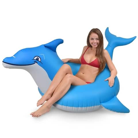 GoFloats Dolphin Party Tube Inflatable Raft, Float in Style (for Adults and Kids)