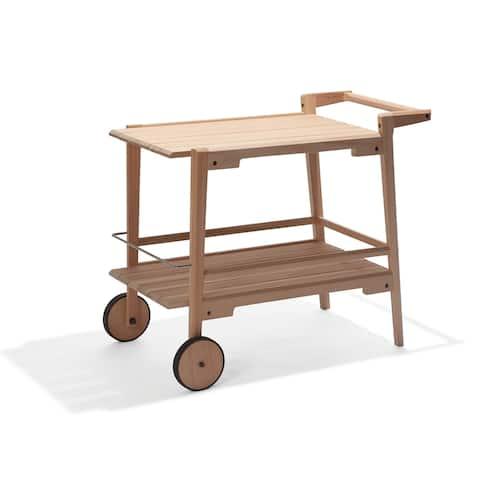 Marcelino Eucalyptus Wood Outdoor Bar Trolley Cart by Havenside Home