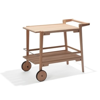 Link to Marcelino Eucalyptus Wood Outdoor Bar Trolley Cart by Havenside Home Similar Items in Outdoor Coffee & Side Tables