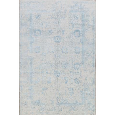 "Wool & Silk Geometric Modern Oriental Area Rug Handmade - 6'1"" x 9'0"""