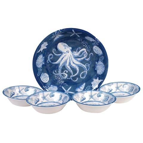 Certified International Oceanic 5-piece Melamine Salad/Serving Set - Blue