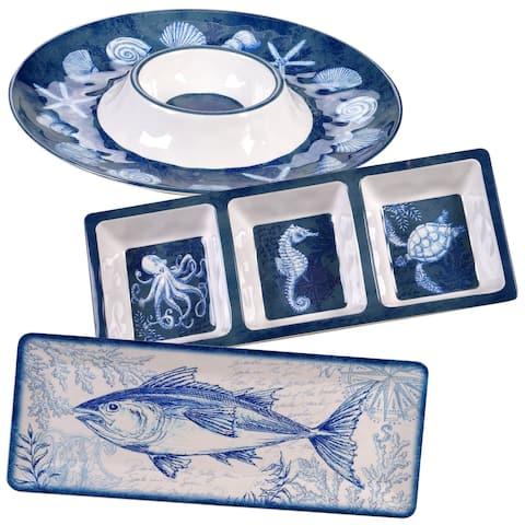 Certified International Oceanic 3-piece Melamine Hostess Set - Blue