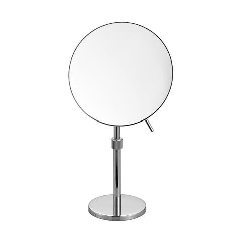 Aqua Rondo by KubeBath Magnifying Mirror W/ Adjustable Height - Chrome