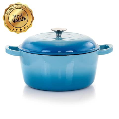 MegaChef 5 Quarts Round Enameled Cast Iron Casserole with Lid in Blue